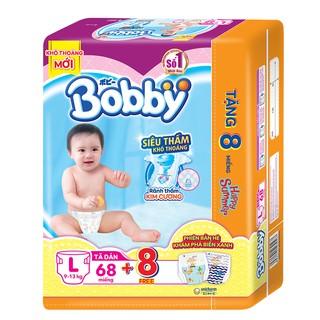 [Tặng 8 Miếng Phiên Bản Hè Giới Hạn]Tã dán Bobby siêu thấm - khô thoáng M76 L68 XL62 XXL56