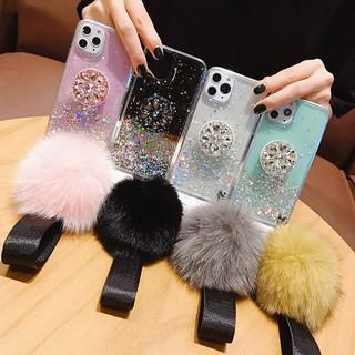 Ốp điện thoại mềm kim tuyến kèm bóng lông cho Samsung Galaxy A6 A8 J4 J6 Plus A7 A9 J8 2018 A750 J2 J5 J7 Prime