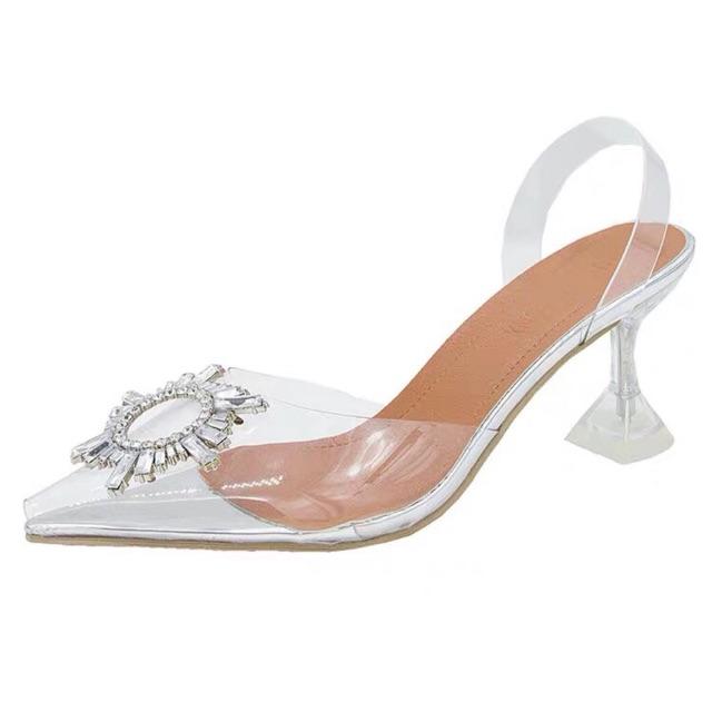 [Mã WSTOPT9 hoàn 30K xu đơn từ 150K] giày cao gót hoa mặt trời trong suốt gót 5p êm chân mã X12