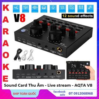 Sound Card V8 Thu Âm Mini Nhỏ Gọn, Tích Hợp Bluetooth, Pin 10H, Thu Âm, Karaoke, Live Stream Mọi Lúc Mọi Nơi Bảo Hành 6T