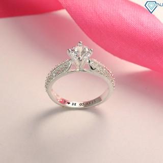 Nhẫn bạc nữ đẹp đính đá sang trọng khắc tên NN0165 - Trang Sức TNJ