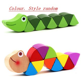 Crocodile Toys tracks Baby colors decoration Wooden