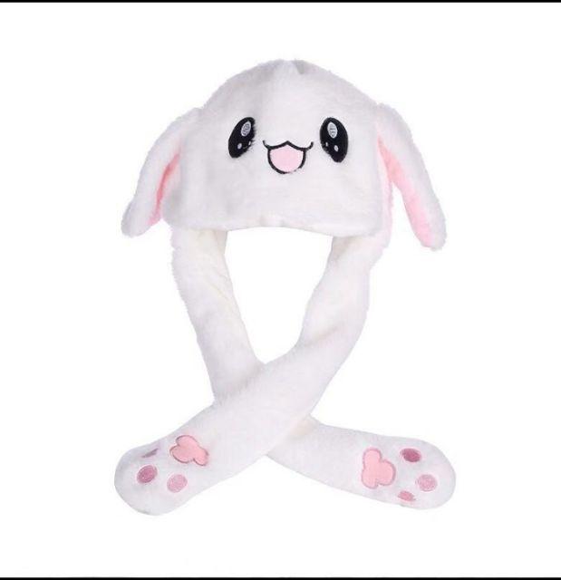 Mũ tai thỏ giật màu trắng