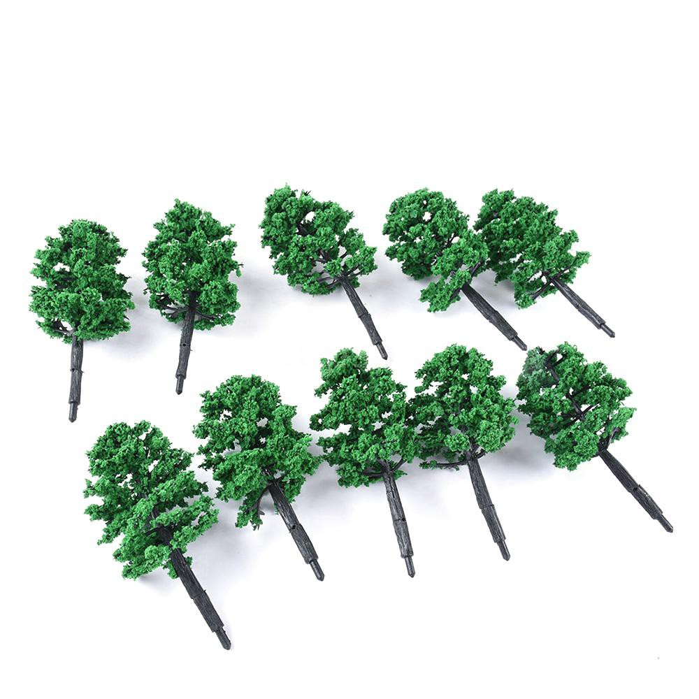 10 Pcs Model Tree Plastic Miniature Landscape Scenery Train Railways