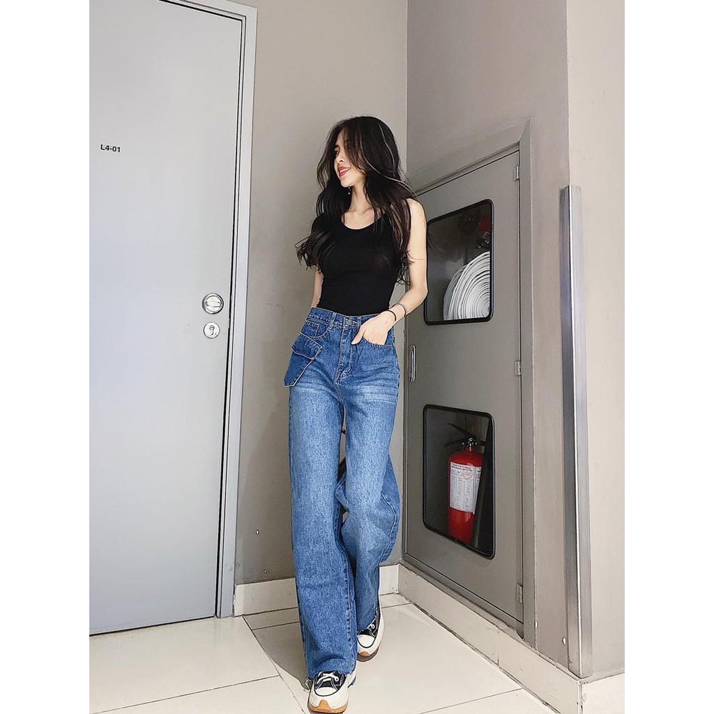 Quần jean nữ ống rộng phong cách hàn quốc