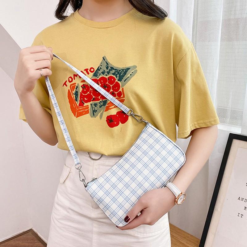 Túi đeo chéo họa tiết kẻ lưới cổ điển cho nữ