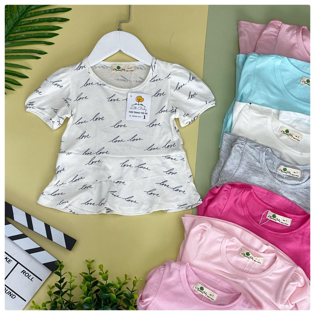 Áo bé gái cotton Litibaby viền bèo xoè size  6-10, cho bạn 19-30kg. Chất cotton mềm mịn, thấm hút mồ hôi, dễ phối đồ