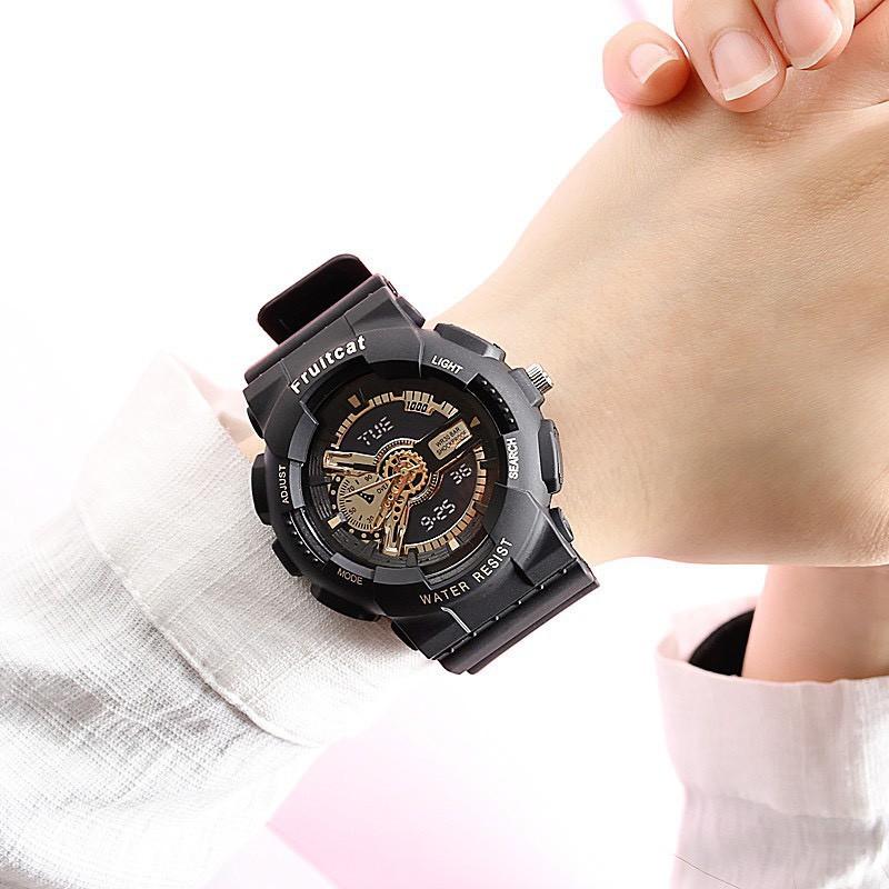 Đồng hồ thời trang nam nữ Fruitcat chạy kim giả điện tử cá tính DH108 tiện dụng