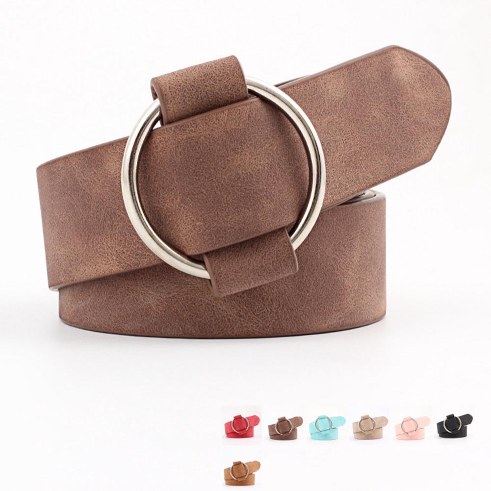 Solid Casual Fashion Wide Ceinture Decorative Round Buckle Elastic Women Belt