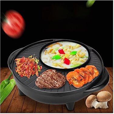 [Thanh Lý]Bếp nướng lẩu 2 in 1 Mini Hàn Quốc 36cm⚜️FREESHIP⚜️ Bếp Điện Đa Năng-Nồi Đôi Mini Nướng và Lẩu 2 trong 1