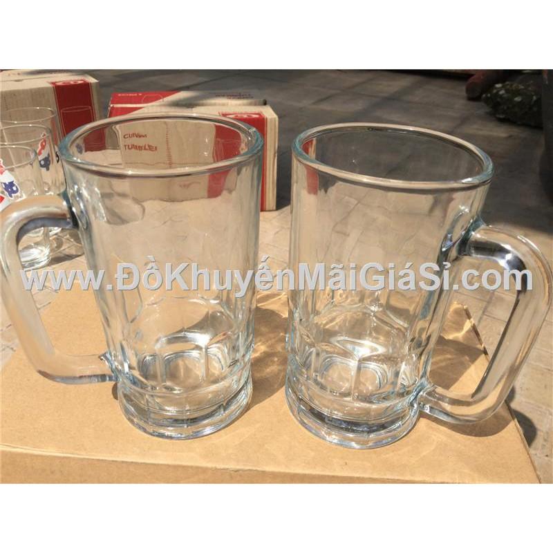 Bộ 2 ly thủy tinh có quai thân thẳng P&G tặng - Dung tích ly 345 ml.