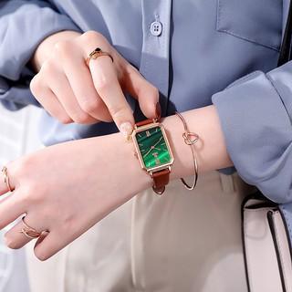 Đồng hồ nữ retro chính hãng màu đỏ ròng của Hàn Quốc đồng hồ nữ hình chữ nhật dây da nhỏ gọn không thấm nước