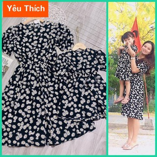Đầm đôi me và bé gái họa tiết hoa nhí mùa hè chất lụa tuyet bao mát