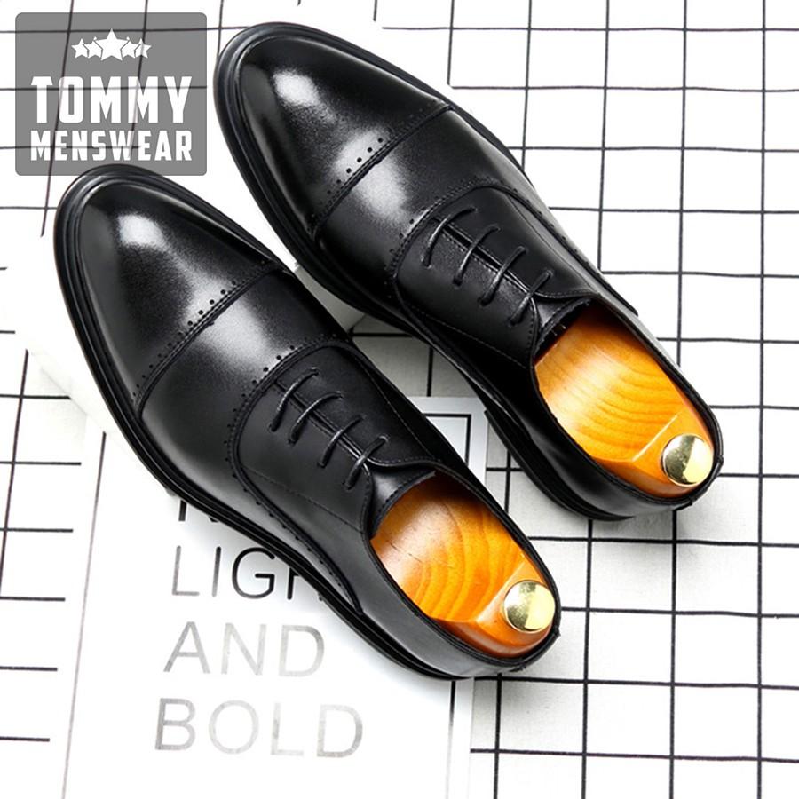 Giày Da Nam Đẹp - TẶNG TẤT - Giày Da Bò Nam Oxford Sang Trọng Đẳng Cấp GD91