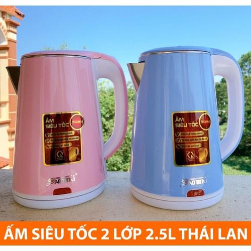 Ấm siêu tốc INOX LÍT MS-1020 THÁI LAN 2.5L cách nhiệt, ấm đun nước siêu tốc thái lan, Bình đun nước siêu tốc 2 lớp
