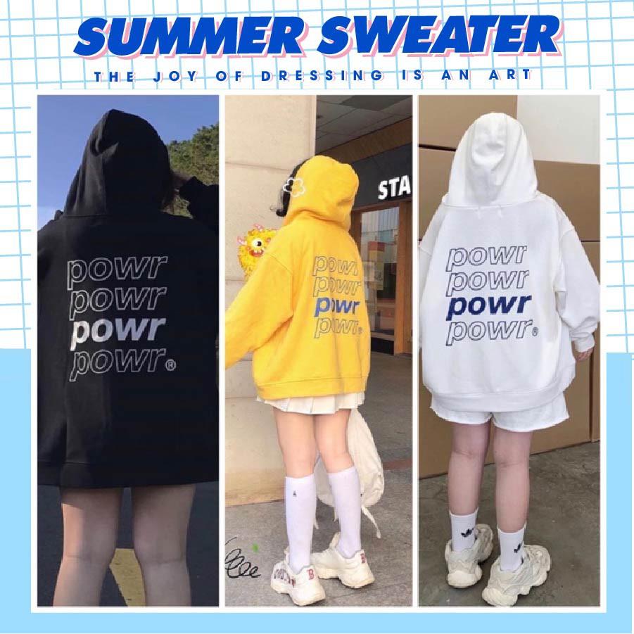 Áo hoodie in hình POWER unisex, chất nỉ dày dặn trẻ trung dành cho nam nữ SUMMER SWEATER