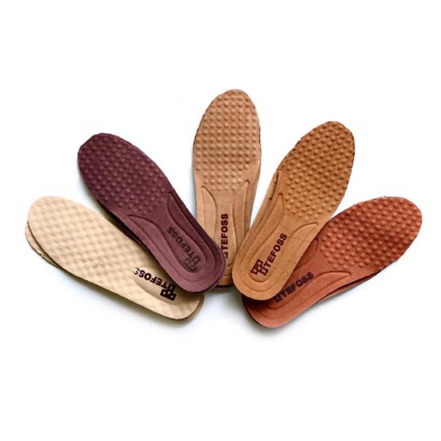 Lót giày DA THẬT( DA HEO/ LỢN )TEFOSS nguyên bản thuộc thảo mộc thấm hút mồ hôi, êm chân, tăng chiều cao size 38-44