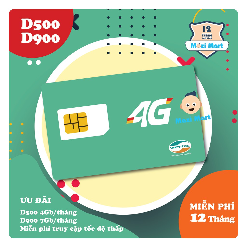 Sim 4G Viettel D500 D900 - Miễn phí 12 tháng sử dụng mạng