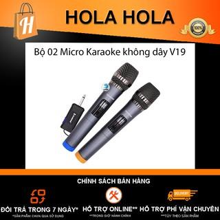 Bộ 02 Micro Karaoke V19 không dây kết nối nhạy âm thanh ấm và tương thích nhiều loại loa