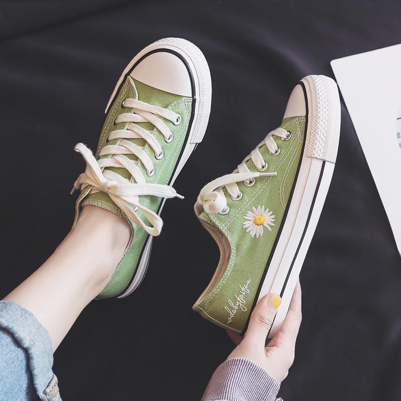 [INS HOT]Giày thể thao nữ canvas kiểu,💥Classic thêu hoa cúc nhí💥(2218)