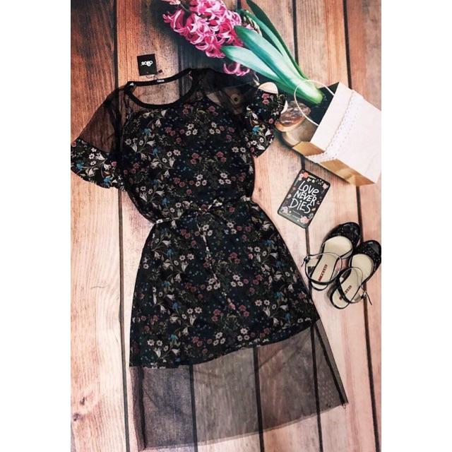 #váy hoa pha lưới tay bèo