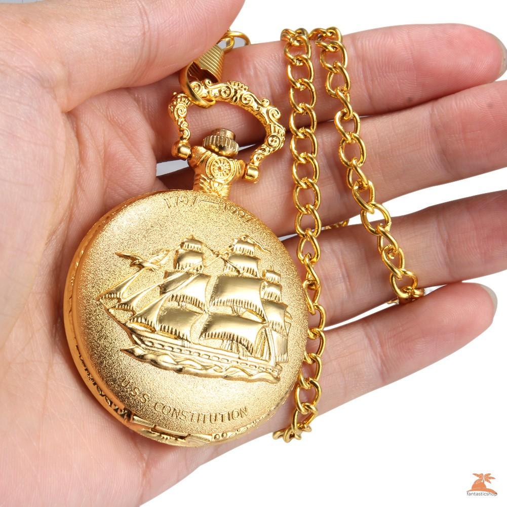 1 Đồng Hồ Quả Quýt Chạm Khắc Hình Con Tàu Mạ Vàng