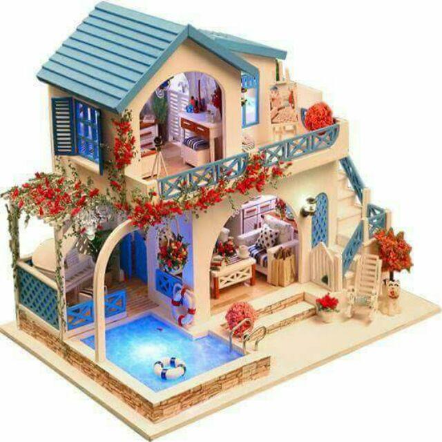 Kèm mica – Mô hình nhà gỗ búp bê dollhouse DIY – K015 Blue and white Town