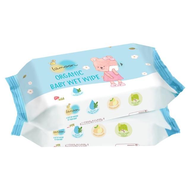 Combo 2 bịch khăn ướt Organic cho bé Lamoon -...
