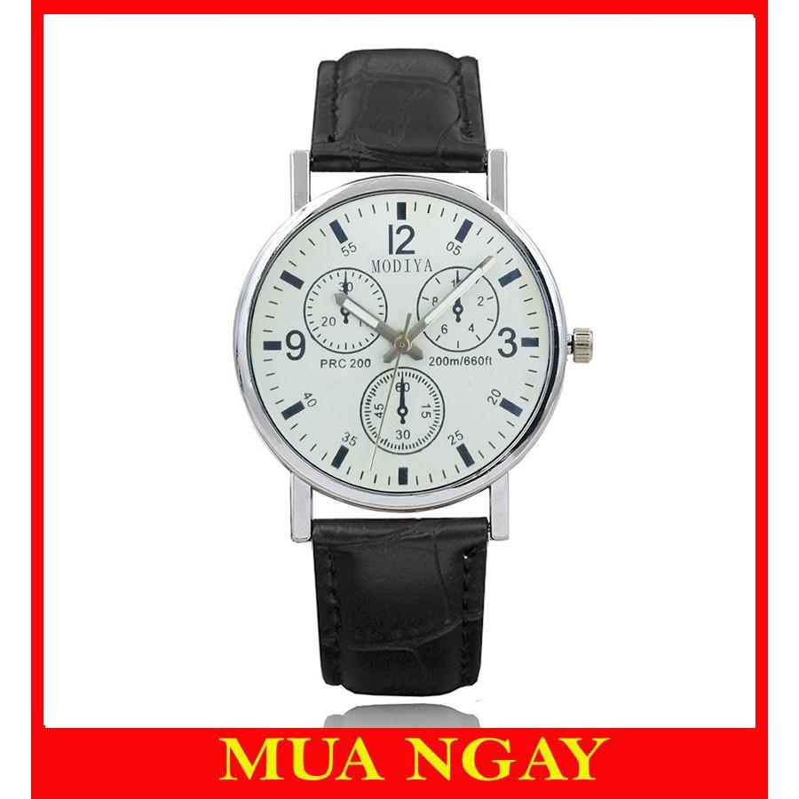 Đồng hồ nam dây da đeo tay cao cấp Modiya DH97