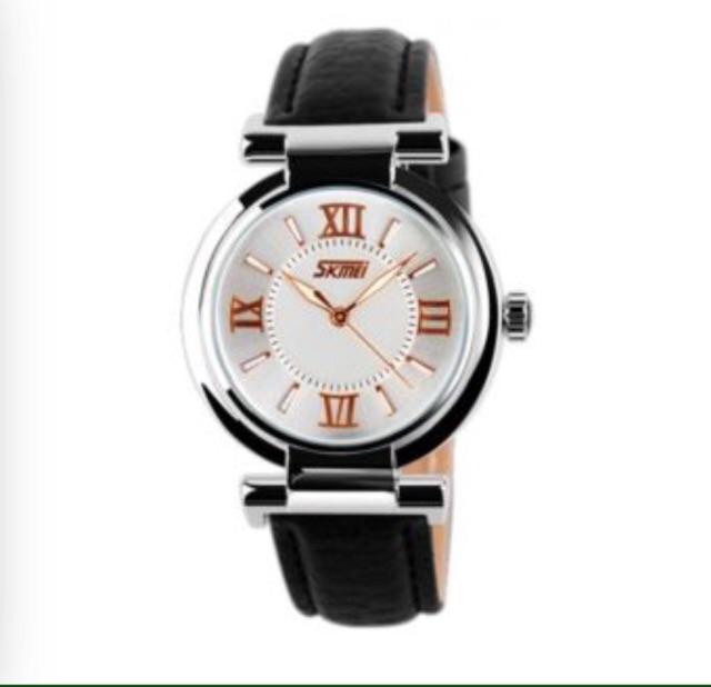 Đồng hồ nữ Skmei 9075 dây da đen