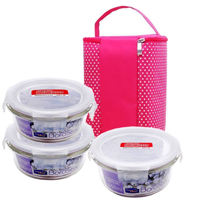 Bộ 3 hộp thủy tinh mang cơm văn phòng Lock&Lock 650ml - 380ml - 380ml kèm túi giữ nhiệt