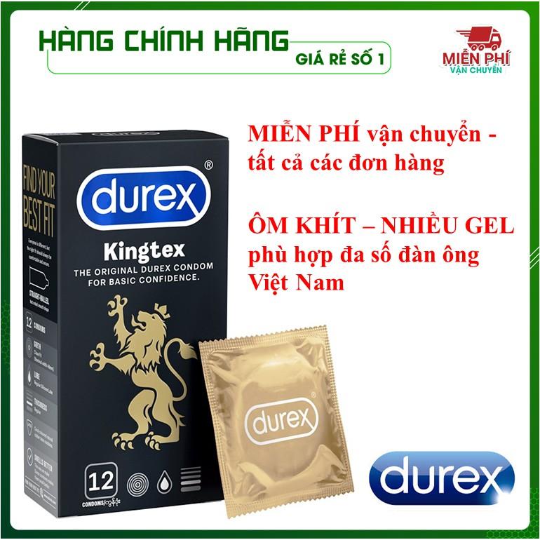 [KING DUREX] Bao cao su Durex Kingtex vừa vặn với kích thước đa số đàn ông người Việt (12 bao/1 hộp bcs)