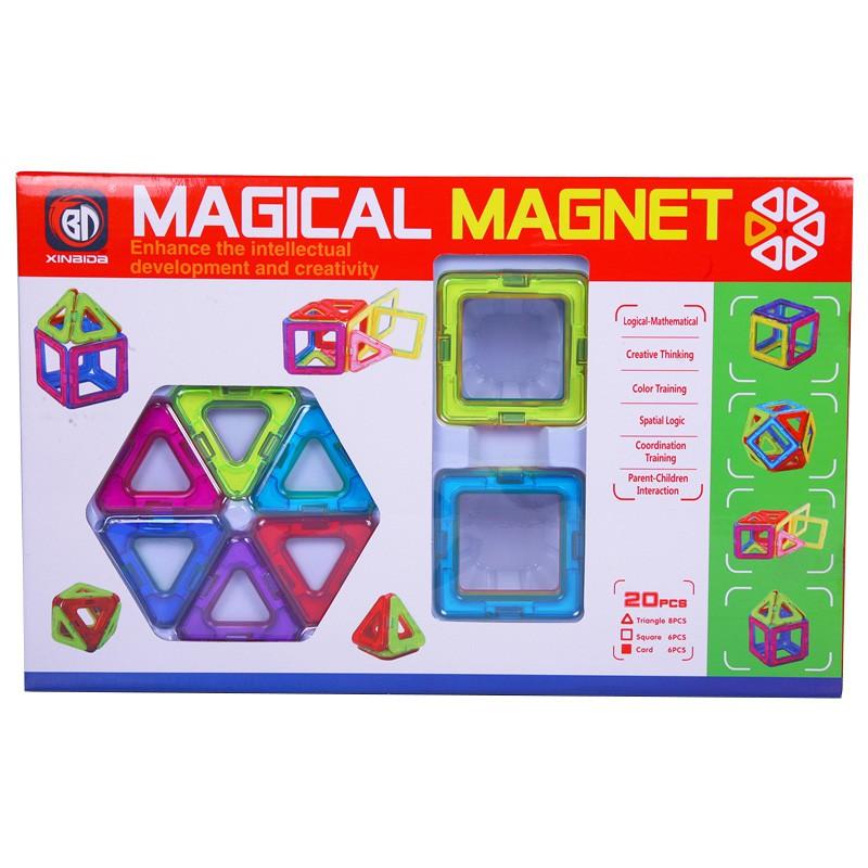 Đồ chơi Xếp hình Nam Châm Trí Tuệ Thương hiệu Magical Magnet 20 chi tiết (pcs) cho trẻ từ 3+ nhựa ABS chống va đập