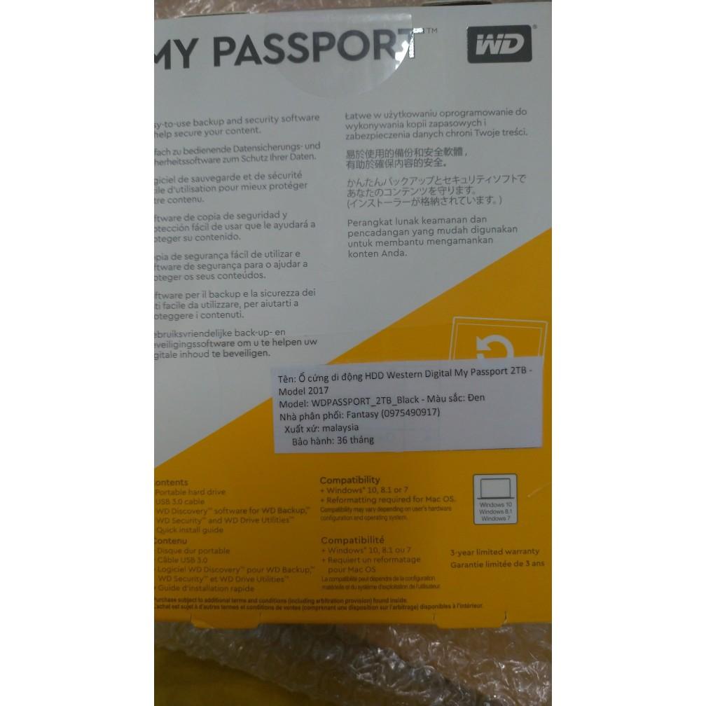 Ổ Cứng HDD Di Động 2TB My Passport USB 3 0 (bảo hành 36 tháng)tặng bao  chống sốc wd