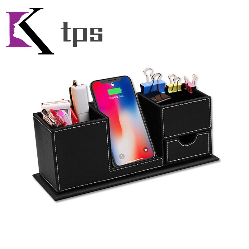 2 in 1 Multifunction Wireless Charger with Storage Box Space-saving for Office Desk Giá chỉ 913.000₫