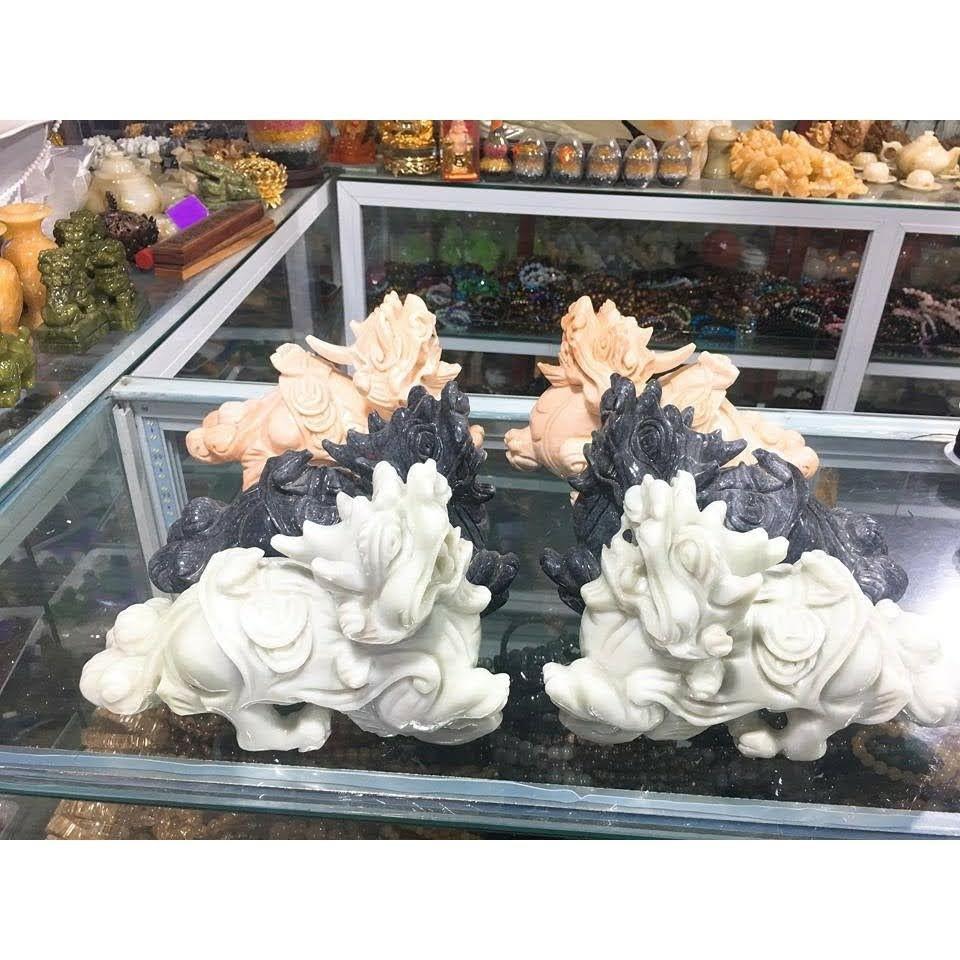 cặp tỳ hưu đá trắng xanh tự nhiên dài 12cm