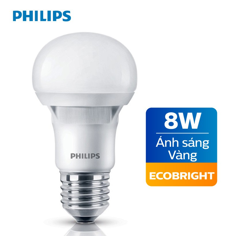 Bóng đèn Philips LED Ecobright 8W 3000K E27 A60 - Ánh sáng vàng