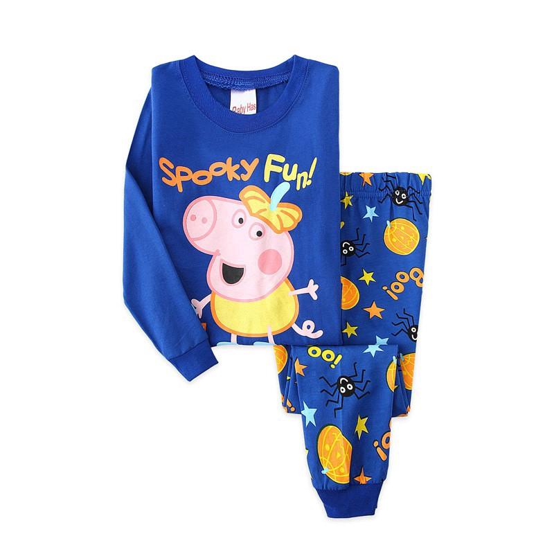 Bộ Đồ Ngủ Pijama Dài Tay In Hình Heo Peppa Dễ Thương Cho Bé Trai