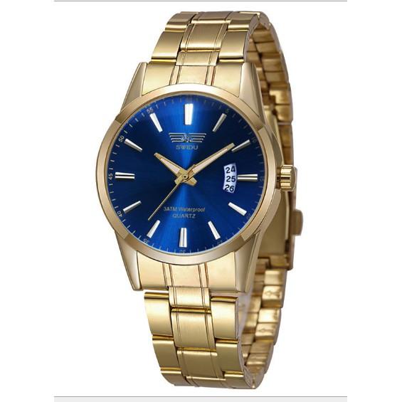 Đồng hồ nam SWIDU dây vàng mạt xanh có lịch