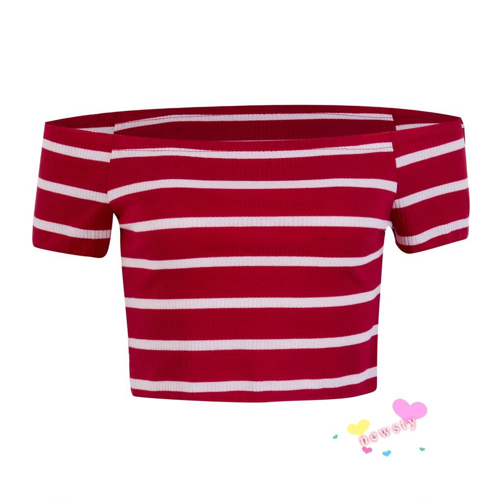 Summer Off Shoulder Short Sleeve Crop Tops Shirt