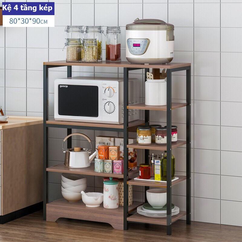 Kệ Để Lò Vi Sóng Kết Hợp Tủ Ngăn Kéo, Lắp ráp thông minh,Thép không gỉ sơn tĩnh điện, chịu lực tốt để nhiều đồ phòng bếp