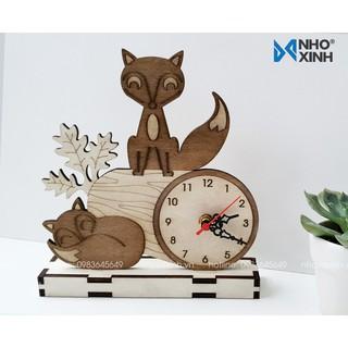 Đồng hồ để bàn Con cáo và khúc cây dễ thương trang trí phòng ngủ bé trai