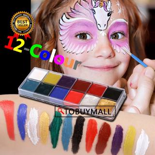 12 Color Body face painted Toys festival World Cup body painting play clown Halloween face paint Make up Flash Tattoo brush