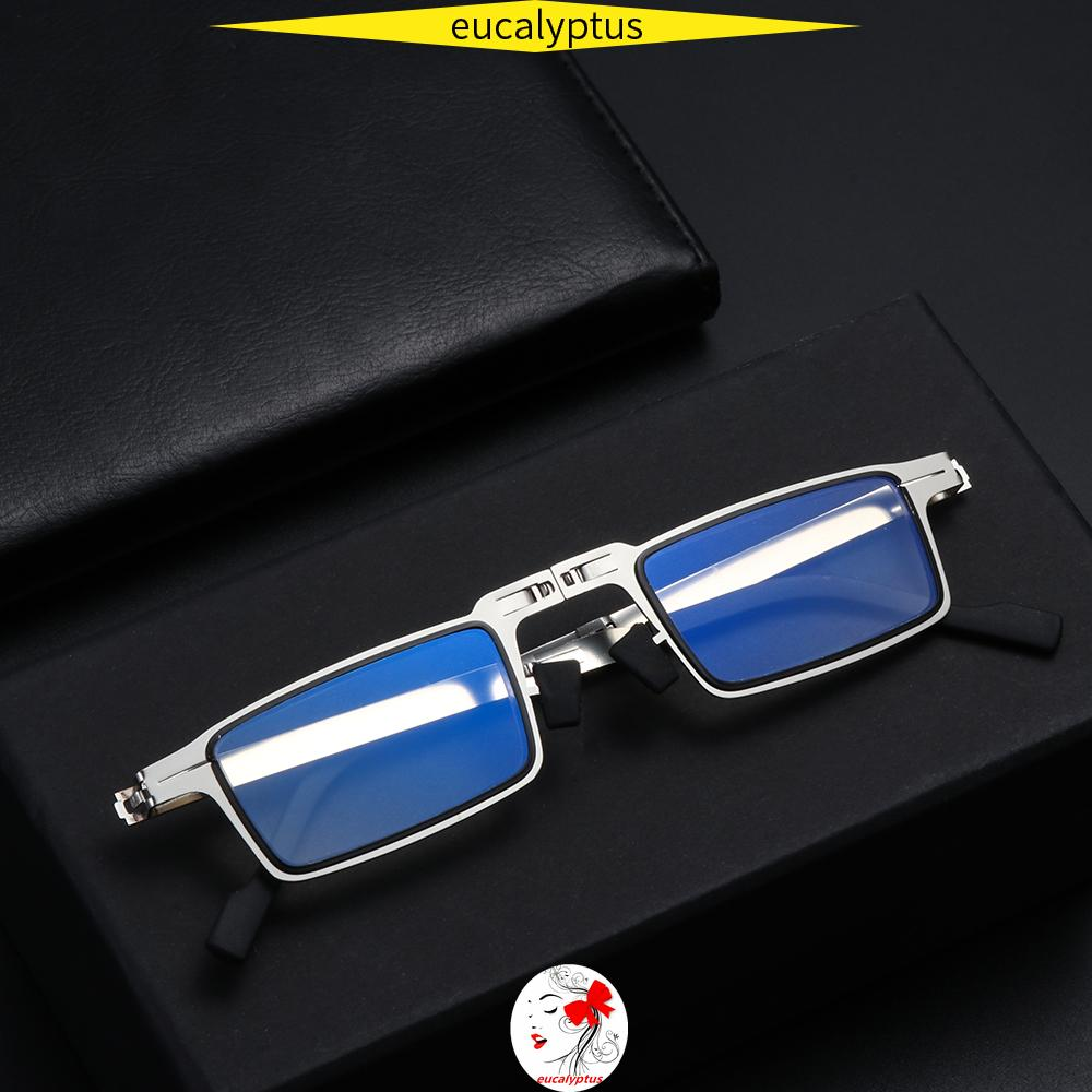 🌱EUPUS🍀 Women Men Blue Light Reading Glasses Portable Readers Glasses with Case Foldable Reading Glasses Anti UV400 Fashion Anti Eyestrain Compact Presbyopia Eyeglasses