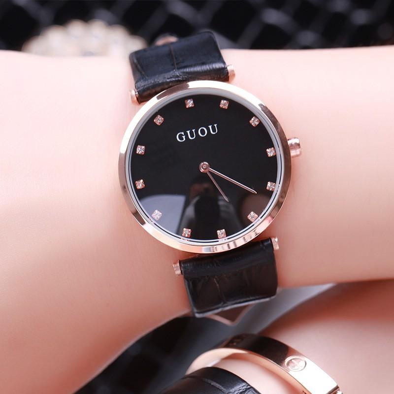 Đồng hồ nữ GUOU dây da mặt số đính đá cao cấp 2 kim thiết kế đơn giản G8059
