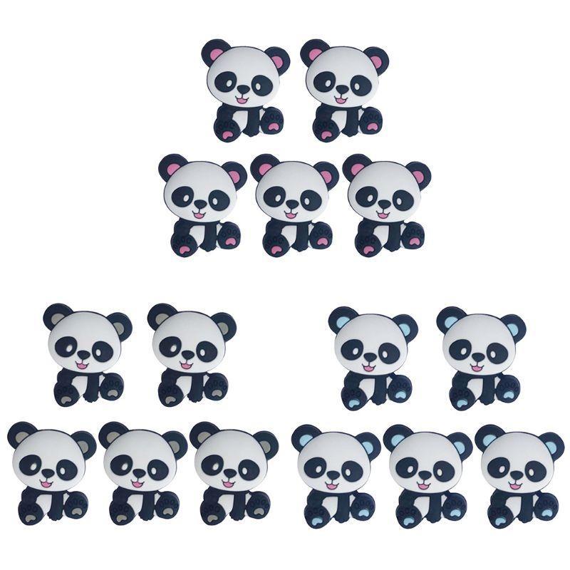 Set 5 Đồ Chơi Ngậm Mọc Răng Mini Hình Gấu Trúc Hoạt Hình Bằng Silicon Diy Cho Bé