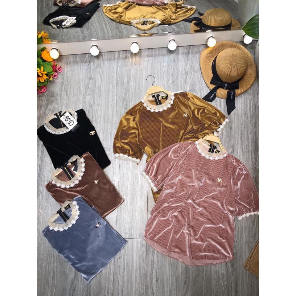 Áo nhung đính hoa cổ mới(kèm ảnh thật,vide) | SaleOff247