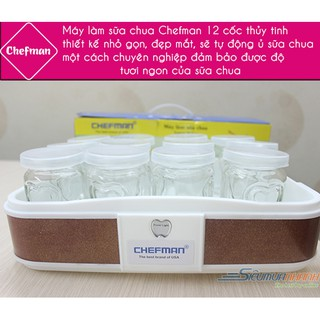 [hàng loại 1] Máy làm sữa chua Chefman CM311T- -12 cốc thủy tinh