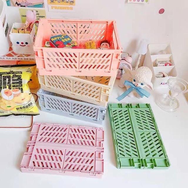 Giỏ đựng decor bàn học, gấp gọn lưu trữ đồ dùng học tập, mỹ phẩm, washi tape