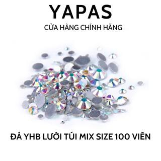 Đá đính móng chân keo YHB lưới 100 viên mix size, đính đá trang trí nail siêu sáng thumbnail
